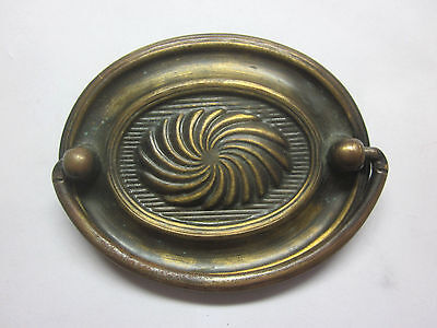 """1 vintage drop bail pull handle antique aged brass inner spiral 3-1/16"""" 2-1/2""""CC"""