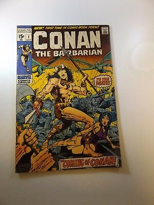 Conan The Barbarian #1 signed by Roy Thomas 1st page VG/FN condition