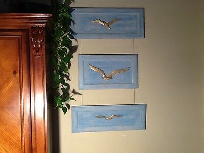 Ocean Decor Seagull Blue Reclaimed Wood Picturere
