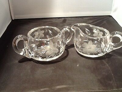Etched Crystal Creamer And Sugar