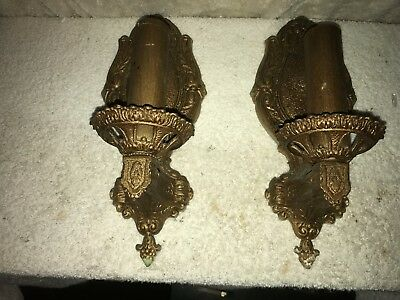 Set of 2 antique Victorian gold gilt dicast electric wall candle sconces