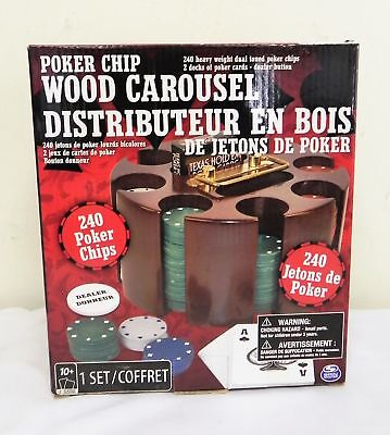 Poker Chip Wood Carousel Carry Handle Organize 240 Chip Cards Included