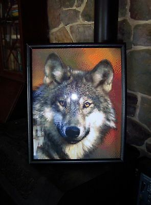 Framed Wildlife Art Handcrafted Mesmerizing Wolf Picture 16 x 13 x 1 With Glass