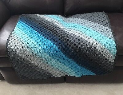 New Baby Blanket Afghan Blue Gray Diagonal Stripes