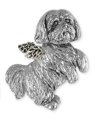 Solid Sterling Silver Lhasa Apso Angel Slide Pendant Jewelry  LSZA19