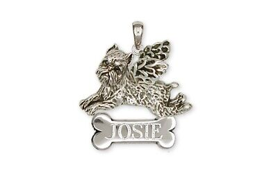Brussels Griffon Angel Personalized Pendant Handmade Sterling Silver Dog Jewelry