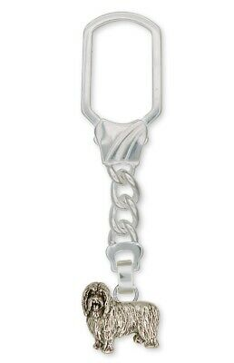 Bearded Collie Key Ring Handmade Sterling Silver Dog Jewelry BCL1-KR