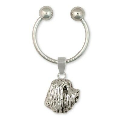 Bearded Collie Key Ring Handmade Sterling Silver Dog Jewelry BCL4-KR