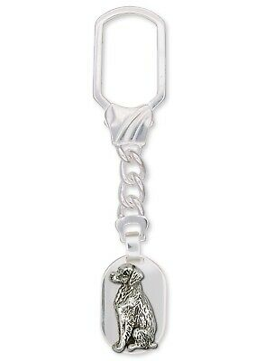 Brittany Dog Key Ring Handmade Sterling Silver Dog Jewelry BR2-KR