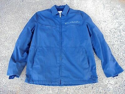 Vintage Men's Military Navy Work Wear Lined jacket Blue large Stenciled Hipster