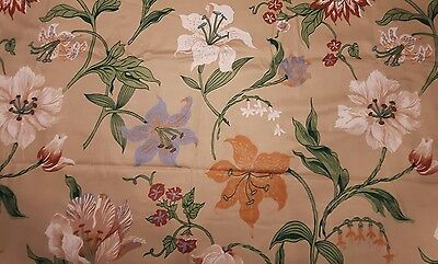 """VTG David and Dash by Simone, floral fabric linen, mid-century modern, 141""""x55"""""""