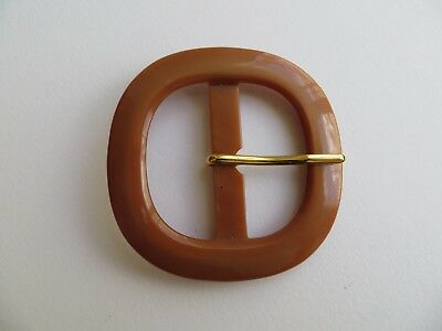 1960s Vintage Square Moonglow Caramel Brown Ladies 'MOD' Belt Buckle-55mm