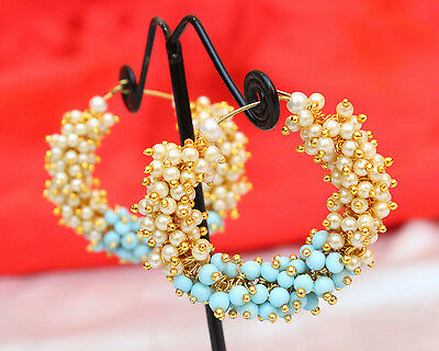 Indian Ethnic Bollywood Gold Plated Pearl Beads Bali Earring Bridal Jewelry