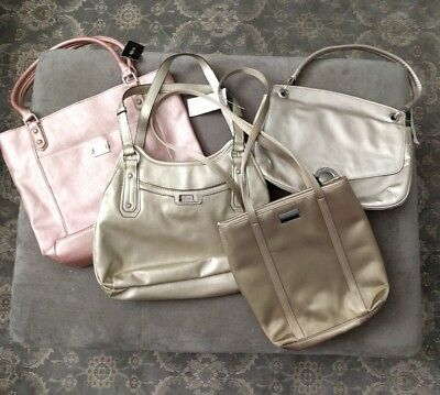 Lot of 4 NWT Metallic Shoulder Handbags Nine West Liz Claiborne