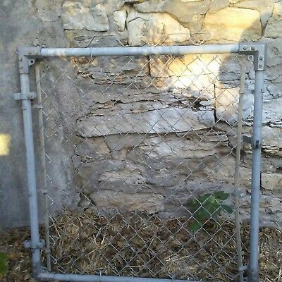 Vintage  Antique  Metal Garden Gate Fence Shabby Chain Link