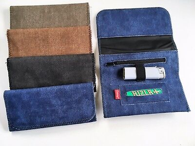 TOBACCO POUCH DENIM FINISH with SLOT FOR ROLLING PAPER and Zipper SECTION