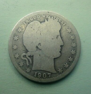 "1907 P 25C Barber Quarter 90 % Silver US Coin BQ34 ""OLD TUCK"" FREE SHIPPING"