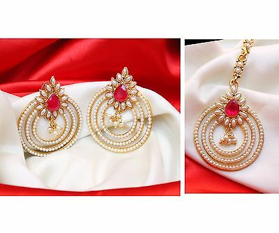 Indian Bollywood Traditional Style Gold Plated Pearl Maang Tikka & Earring Set