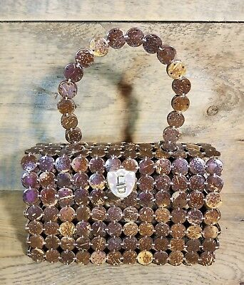 Vintage Hand Crafted Round Wooden Coconut Shell Handbag Hard Peep-Through Beads
