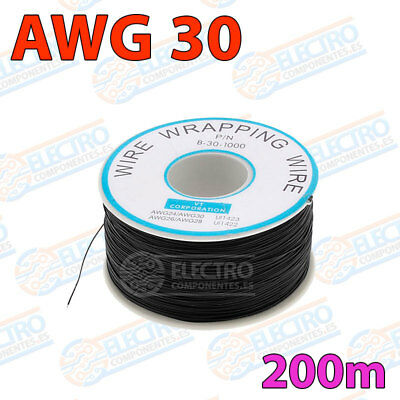 Bobina AWG30 - NEGRO - 200m Cable Hilo WRAPPING electronica soldar