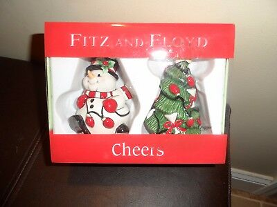 Fitz And Lloyd Cheers Salt And Peppers Shakers Snowman And Christmas Tree