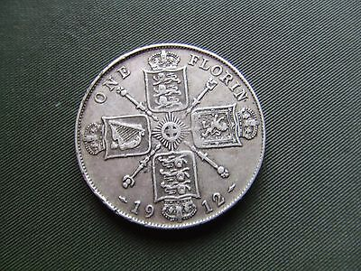 George V.  1912, Silver Florin.    Scarce Date.  Nice Condition.