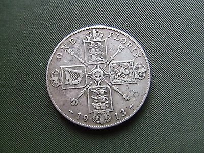 George V.  1913, Silver Florin.    Scarce Date.  Nice Condition.