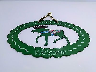"""GREEN SWEDISH DALA MOOSE Hand Painted Metal """"Welcome"""" Sign by Grannas Olssons"""