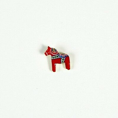 Traditional Red Swedish Dala Horse Lapel Pin, Small, from Sweden