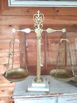 Antique  Brass Balancing  Justice Type Scale with  Footed Marble Base