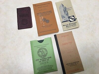 Lot of 5 Vintage Kansas City Missouri Bank Savings / Checking Registers