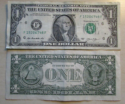 Stati Uniti Usa 1 Dollaro One Dollar $ Series F 2013 Washington Banconota Rara