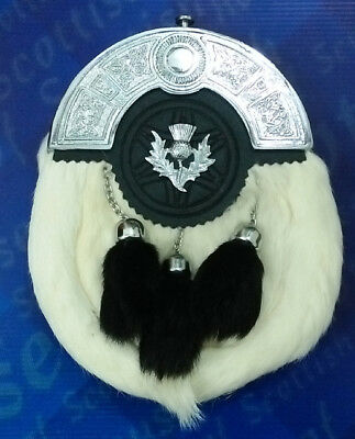 Men's Scottish White Rabbit Fur Leather Sporran/Kilt Sporrans /  Thistle Badge