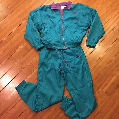 Nike Track Suit 2pc Windbreaker Jacket Jogger Pants 80s Neon Teal Vtg Size S 6-8