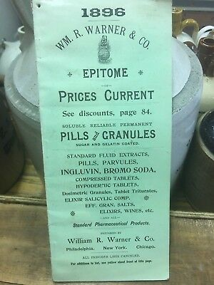 1896 Wm R Warner Druggist Apothecary Pharmacy Catalogue Price Guide