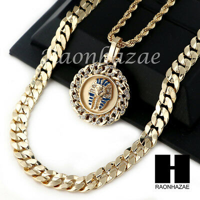 """Men Iced Out King Tut Rope Chain Diamond Cut 30"""" Cuban Link Chain Necklace S016"""