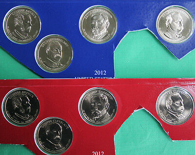2012 Presidential Dollar Coins 8 P and D US Mint Set Blister Pack Cellos UNC $1