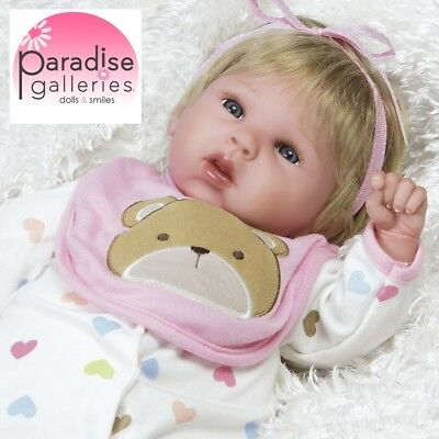 Paradise Galleries Reborn Baby Girl Doll, 19 inch Happy Teddy Realistic Vinyl