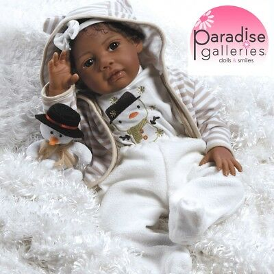"Paradise Galleries Reborn African American Black Baby Doll ""Kione"" - 20 inch"