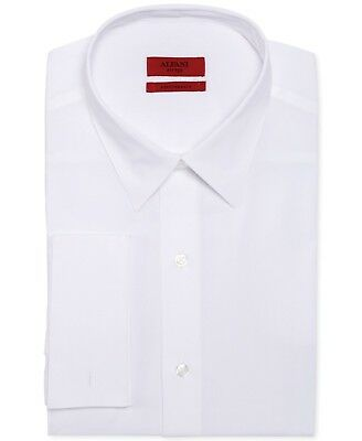 $95 ALFANI Men FITTED STRETCH WHITE FRENCH-CUFF BUTTON DRESS SHIRT 14-14.5 32/33
