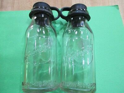 2 vintage Mojonnier Dairy Chicago Bottles with Stoppers pat 57479 >