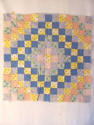 "Adorable ""TRIP AROUND the WORLD"" DOLL QUILT TOP 17"" square 1925-40 CRAFTS PILLOW"