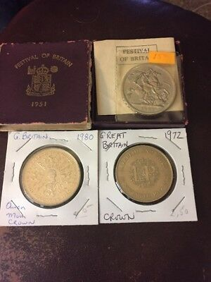 Lot Of 3 Great Britian Crown Coins Mixed Year #W24