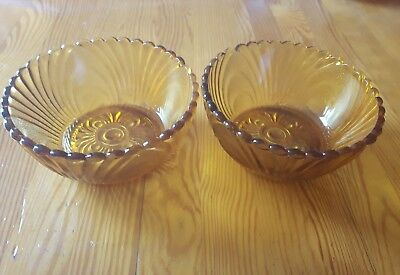 Two Small Vintage Yellow Glass Bowls