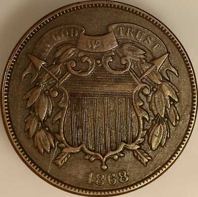 1868 Two Cent Piece Very Fine