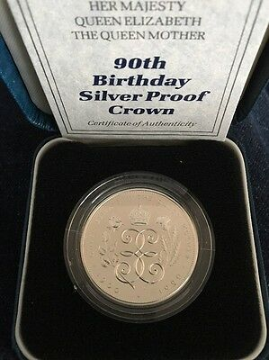 1990 Silver Proof £5 Crown 90th Birthday***Collectors***Cased With COA***