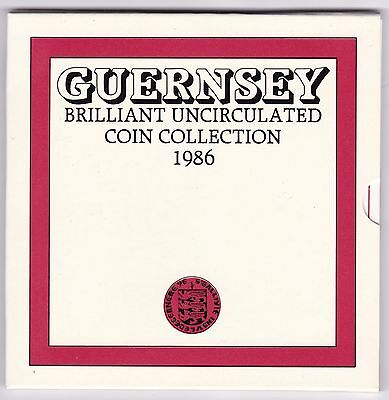 1986 Guernsey Brilliant Uncirculated Coin Set***Collectors***
