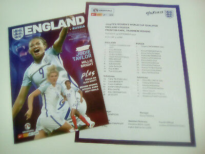 ENGLAND WOMEN v RUSSIA WOMEN   19/9/2017 OFFICIAL  PROGRAMME & TEAM SHEET