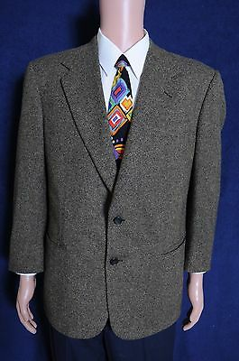 VTG '90s Alan Lebow nailshead green brown two button wool sport coat blazer 43
