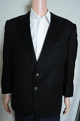 VTG '90s Alan Lebow Black 100% Cashmere two button sport coat blazer 44